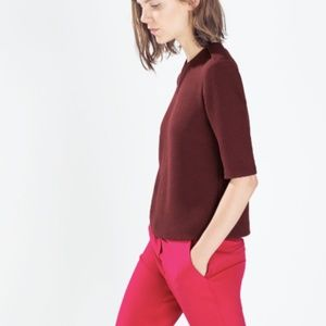 EUC ZARA Medium Burgundy Top Blouse